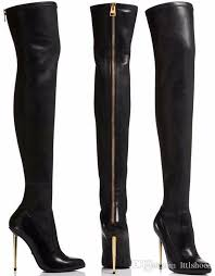 womens boots zipper back 2017 sale high heels pointed toe gold zip thigh high boot
