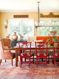 Black Dining Table With Red Ladder Back Chairs Lightly Distressed - Red dining room chairs