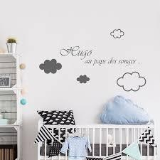 stickers adhésifs filles ou garçon personnalisés avec nuages