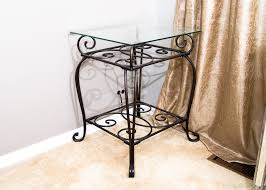 Glass End Tables Wrought Iron And Glass End Tables 18 Groovy Wrought Iron End