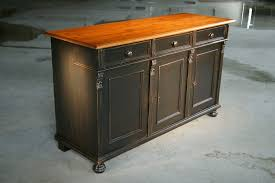 custom made black kitchen island from reclaimed pine sideboard by