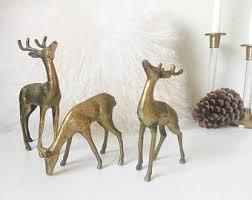 gold deer figurines etsy