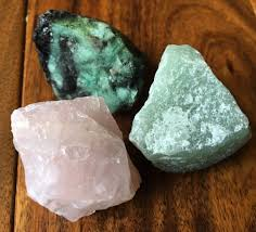 crystals heart chakra raw crystal set rose quartz emerald green