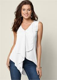 venus blouses ruffle front blouse in white venus