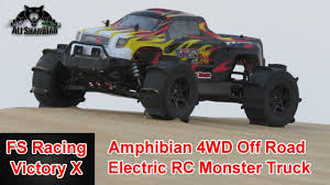 outdoor monster truck shows fs racing victory x amphibian 4wd electric rc monster truck youtube