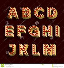 retro light bulb alphabet vector font part 1 of 3 letters a m