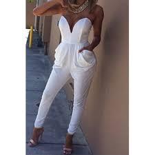 white sleeveless jumpsuit v neck sleeveless strapless backless pockets design solid