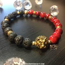 bead bracelet stone images The dope society lava stone beaded bracelet gold plated lion jpg