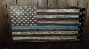 Thin Blue Line Flag Thin Blue Line Flag Wood American Flag Usa Red White And Blue