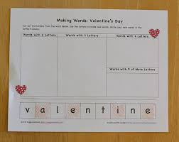 valentine u0027s day activities making words free printable buggy