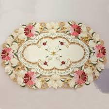 popular embroidered placemat buy cheap embroidered placemat lots yazi vintage embroidered flower daisy lace oval doily fabric table placemat 50x33cm wedding banquet party home