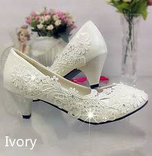 wedding shoes low heel ivory ivory bridal shoes ebay