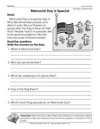 printable memorial day reading comprehension worksheets free for