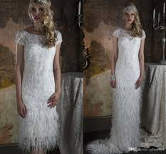discount two piece feather wedding dresses with greek goddess