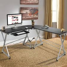 wood l wood l shape corner computer desk pc laptop table workstation home