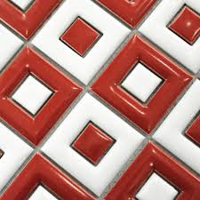 white red ceramic mosaic tile kitchen backsplash bathroom wall