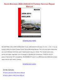 buick enclave 2008 2009 2010 factory service repair manual