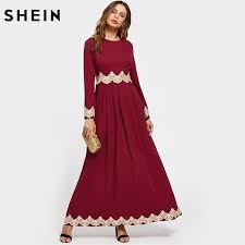 shein lace applique box pleated kaftan dress fall dresses 2017
