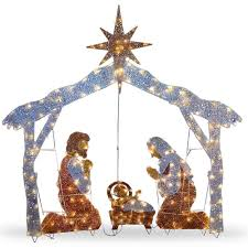 Outdoor Lit Nativity Scene by Christmas Holy Family Lighted Indoor Outdoor Yard Nativity Figure