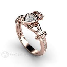 claddagh engagement ring claddagh ring white sappphire engagement ring earth jewelry