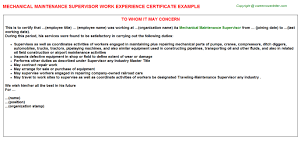 mechanical maintenance supervisor work experience certificate