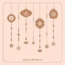 vintage ornaments background of diwali vector free