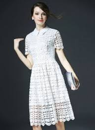 white lace dress with sleeves knee length white lace summer dress as picture lace solid 3 4