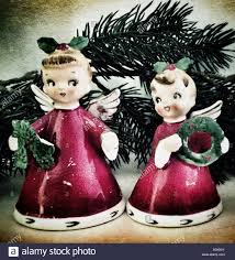 kitsch vintage christmas angel ornaments stock photo royalty free