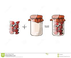 jar with strawberry jam sketch for your design stock vector