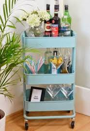 ikea bygel utility cart to bar cart i would spray this gold or