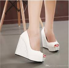 Wedding Shoes Peep Toe New 2017 Wedge Heel Bride Wedding Shoes Peep Toe High Heel