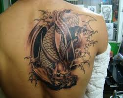 cool 3d koi tattoo design on back tattoomagz