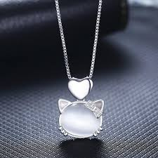 heart rhinestone necklace images Cat with bow and heart rhinestone and crystal sterling silver jpg