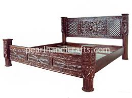 Lotus Bed Frame Lotus Pillar Bed Rajasthani And Traditional Look Beds For Home