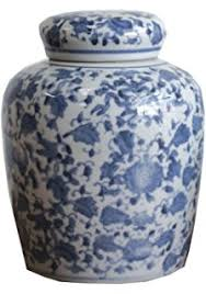 amazon com small square blue and white ceramic ginger jar with