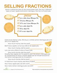math problem fractions fraction word problems pie time worksheet education