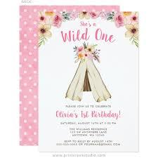 boho floral tribal teepee wild one 1st birthday invitations