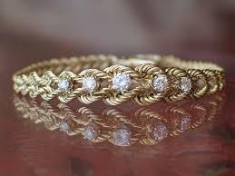 gold bracelet diamonds images Estate vintage 14k yellow gold diamond bracelet aweshopp jpg