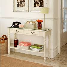 saving small rustic hallway spaces with vintage wood console table