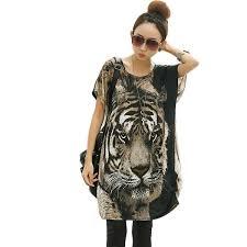 print blouses 3 d tiger print blouse tops silk bat sleeve
