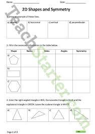 2d shapes and symmetry worksheet teaching resource u2013 teach starter