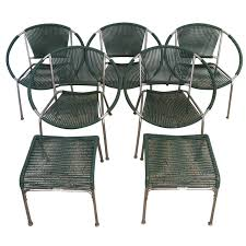 Mid Century Modern Patio Furniture Set Of Five Mid Century Patio Chairs With Two Ottoman