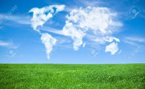 World Cloud Map by World Map Shaped Clouds In The Sky Stock Photo Picture And