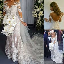 lace mermaid wedding dresses scoop backless sleeves lace mermaid wedding dresses