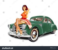 jeep pin up girls pinup retro car isolated on stock vector 321067541 shutterstock