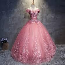 pink wedding dress gown the shoulder floor length pink wedding dress with