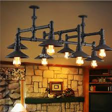 industrial vintage style loft water pipe light iron chandeliers