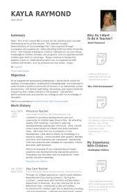 Example Of Teacher Resume by Preschool Teacher Resume Sample Jennywashere Com