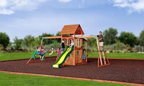 Backyard Adventures Reviews Saratoga Wooden Swing Set Playsets Backyard Discovery