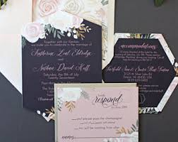 navy and blush wedding invitations navy wedding invites etsy